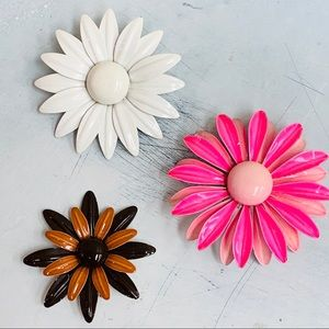 vintage flower enamel brooch pin lot of three